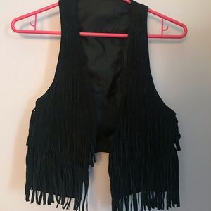 Black Genuine Leather Fringed Vest Small No Tag